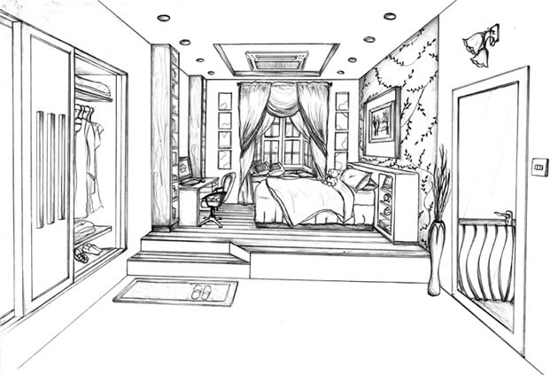 one point perspective living room drawing images
