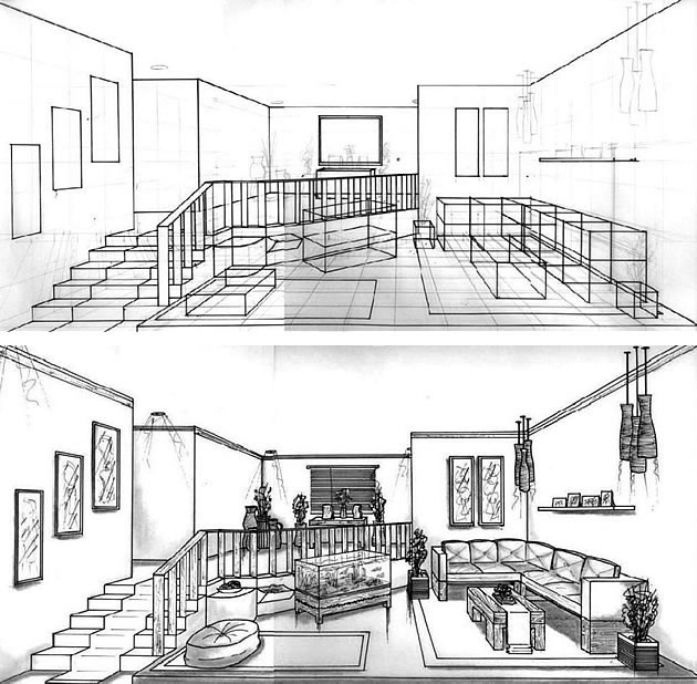 One point perspective drawing the ultimate guide - One point perspective drawing living room ...