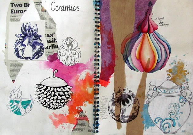 Ceramic design sketchbook page