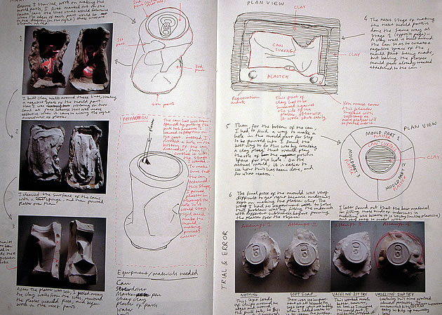 3D sculpture sketchbook documentation