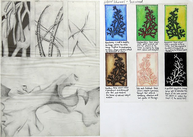 gcse art sketchbook layout example