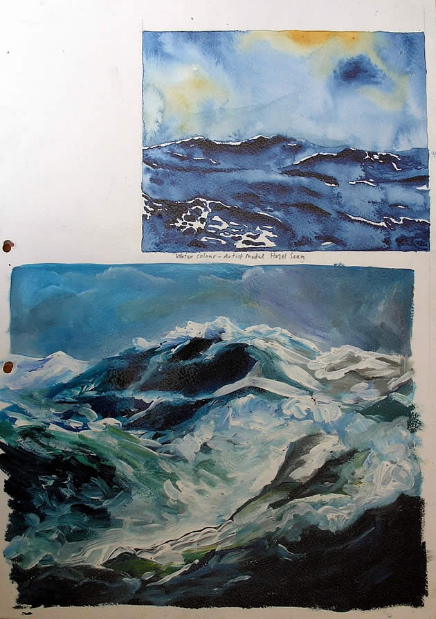 water paintings, gcse art sketchbook work