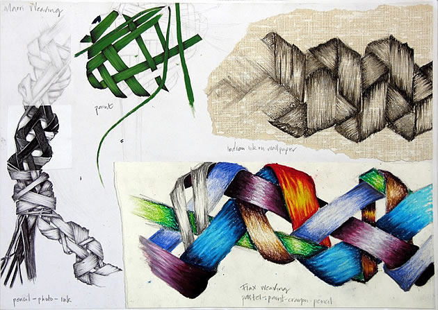 gcse art sketchbook drawings of weavings