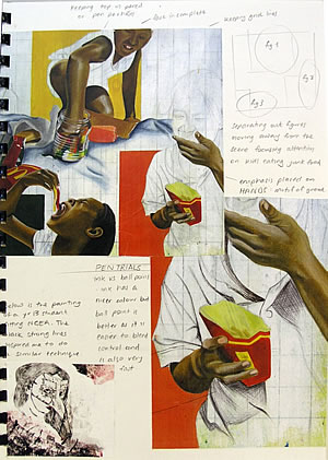 composition planning - a level art sketchbook page