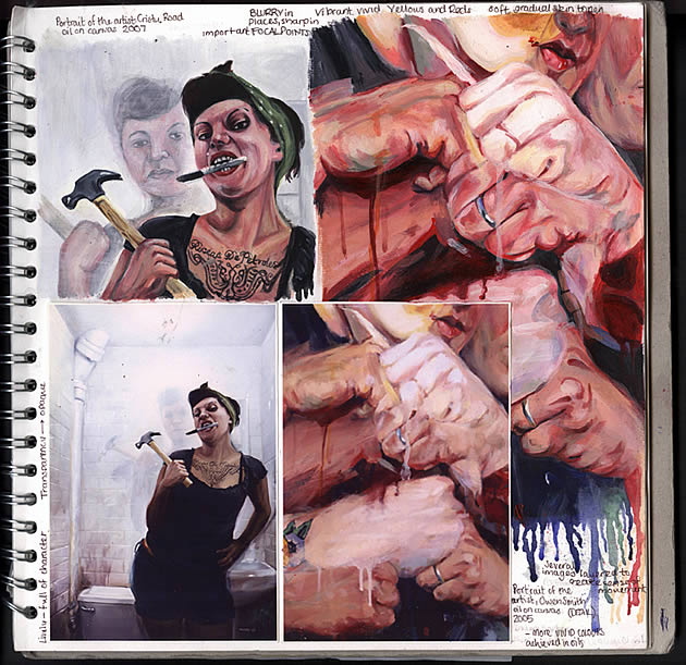 Amazing A Level Art sketchbook page A*