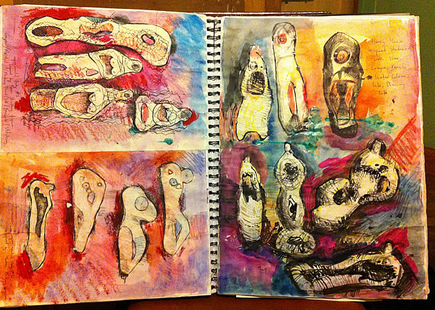 A Level Sculpture sketchbook page