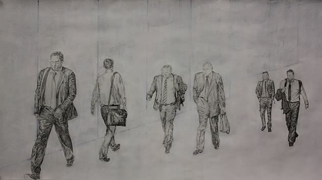 drawing of men walking