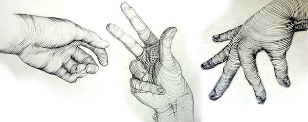 cross contour hand drawing