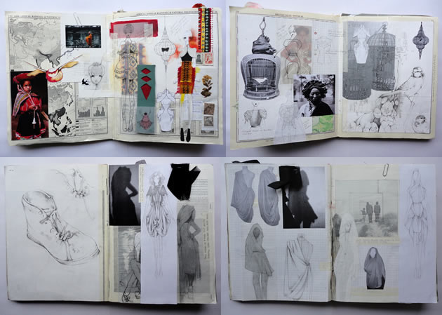 fashion school graduate sketchbook