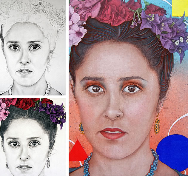 final piece inspired by frida kahlo portrait