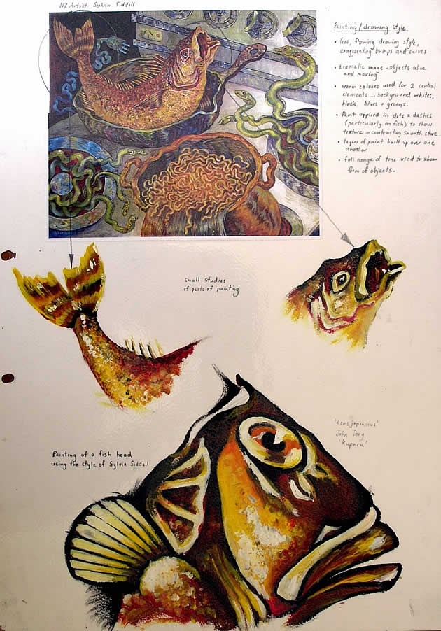 learning from artist models - gcse art fish paintings