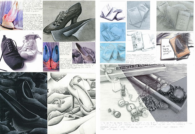 GCSE Art sketchbook pages exploring shoes
