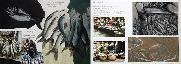 fish drawings with different mediums - gcse art sketchbook ideas
