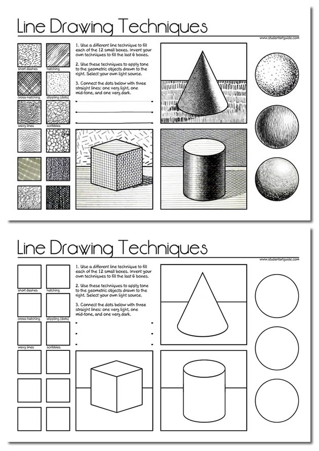 Line Drawing Worksheet : Line drawing a guide for art students