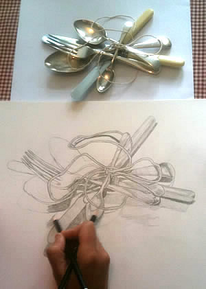 observational drawing of forks