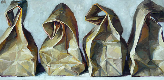 paintings of paper bags