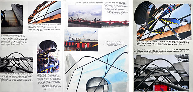 Photography sketchbook page containing drawing