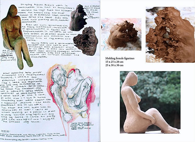 sculpture sketchbook showing clay figurines