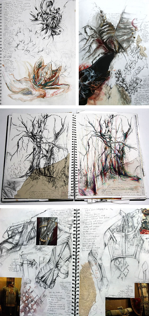 textiles sketchbook A Level ideas