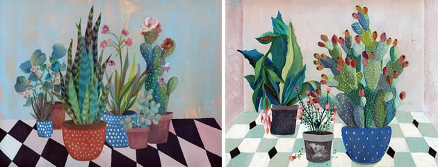Painting of plants and cacti