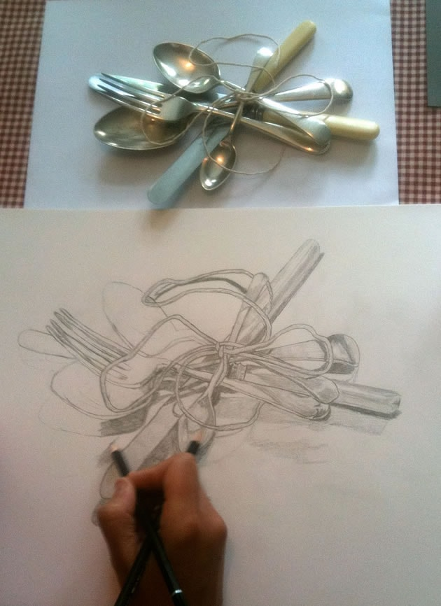 drawing cutlery