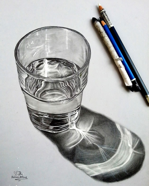 drawing a glass of water