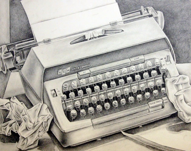 typewriter drawing - great still life idea
