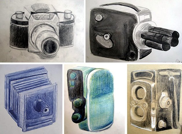 vintage camera drawings
