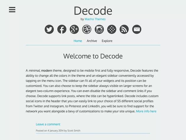 Decode WordPress theme