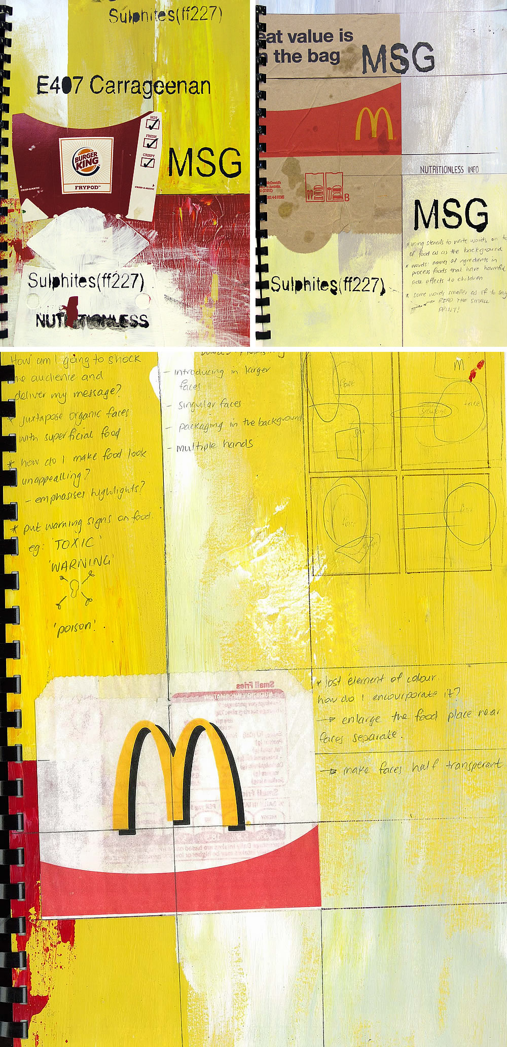 A* Sketchbook project exploring junk food