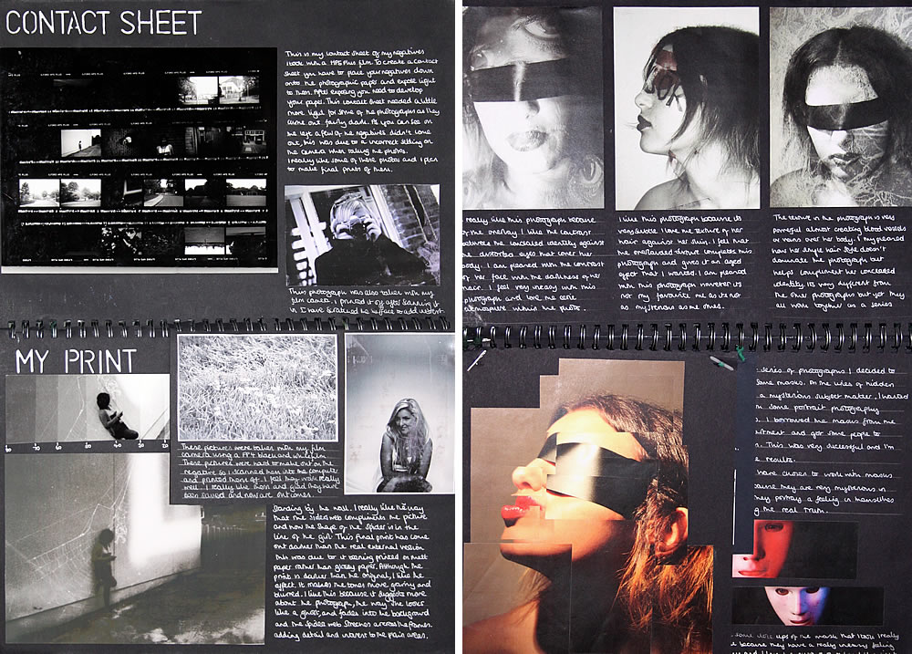 A Level Photography sketchbook example