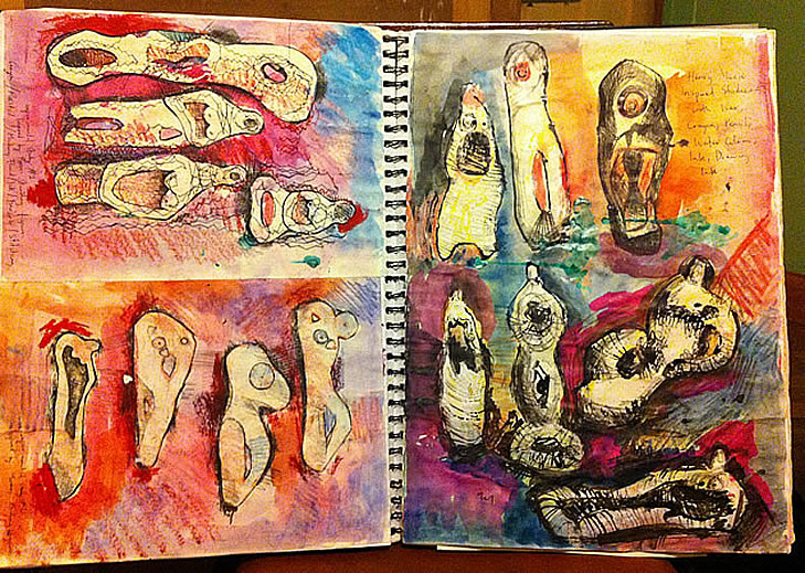 A Level sculpture sketchbook
