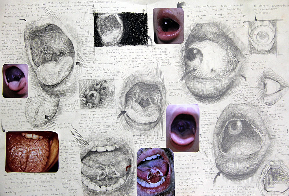A Level Art sketchbook: mouths