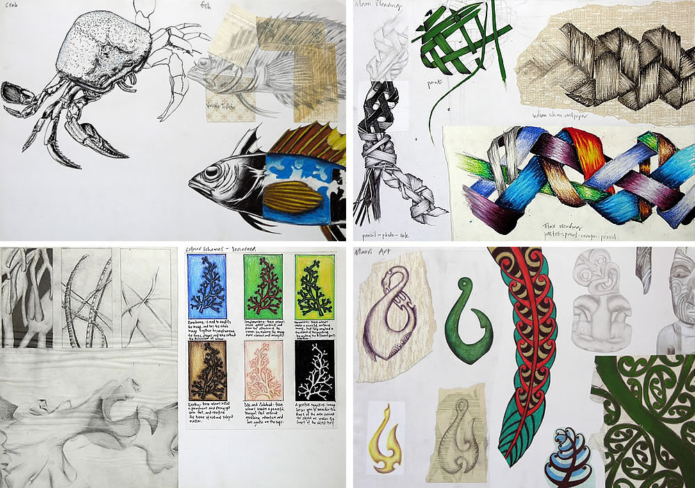 IGCSE sketchbook - fish, weaving, seaweed