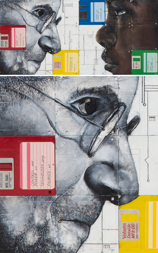 Painting on floppy disks: a great high school Art project