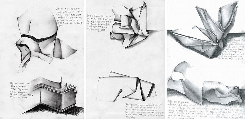 Paper drawings - AS Level sketchbook