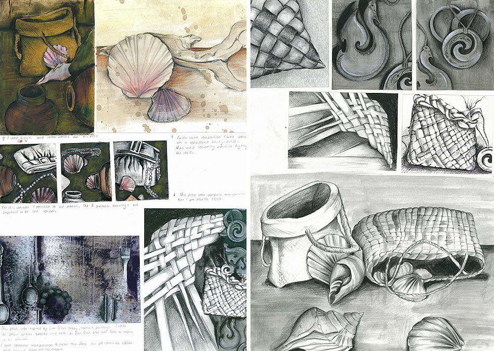 Shells and weaving: IGCSE sketchbook