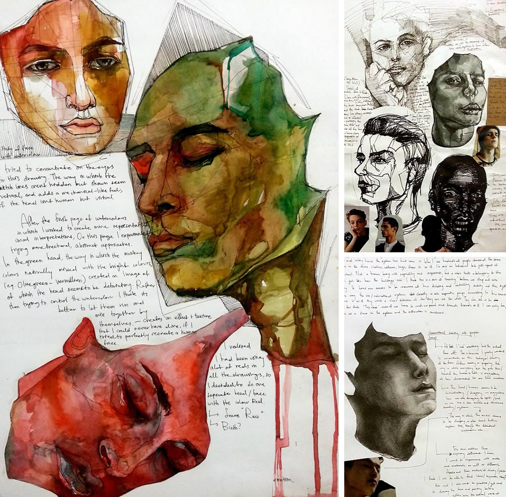 VCE Studio Arts sketchbook examples