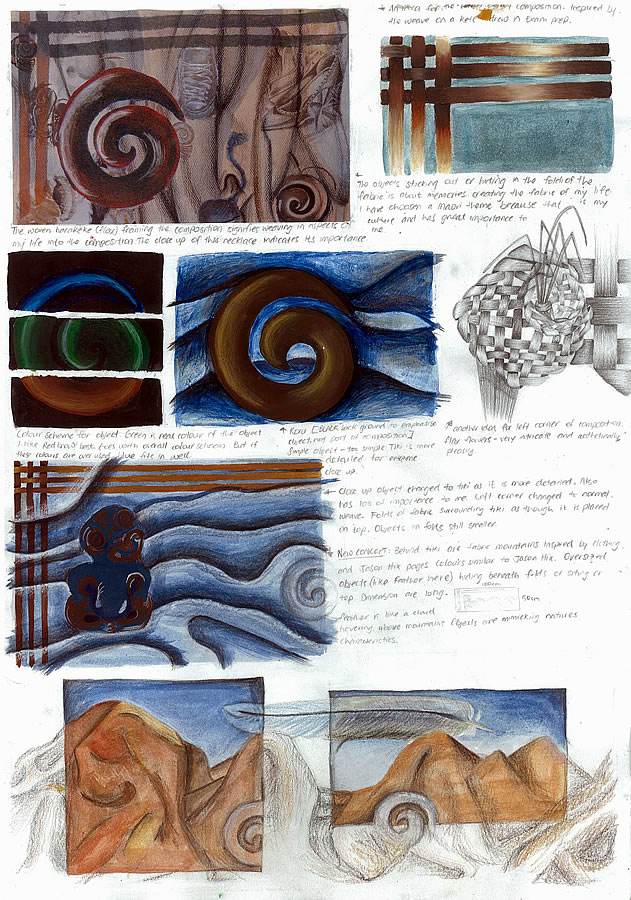 With constant evaluation of her compositions, Nikau continues develop and resolve her ideas as she moves towards her final piece. As is demonstrated in many of the IGCSE Art and Design Coursework examples featured on this website, development of ideas is essential within a good student art portfolio. Here Nikau cleverly rearranges her subject matter so that the folds of cloth take on the appearance of a steep backdrop of hills, with memories symbolising her past etched and buried in the fabric landscape.