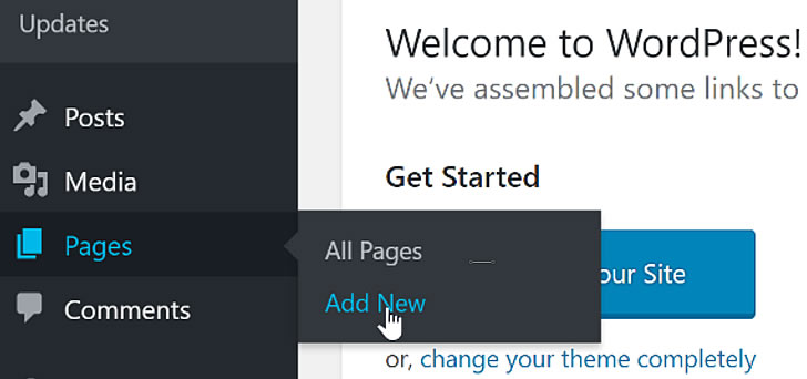 Adding a page in WordPress