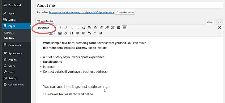 How to add headings in WordPress
