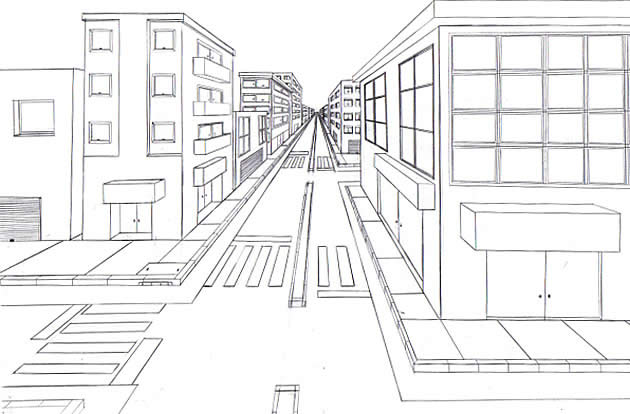 1 point perspective city