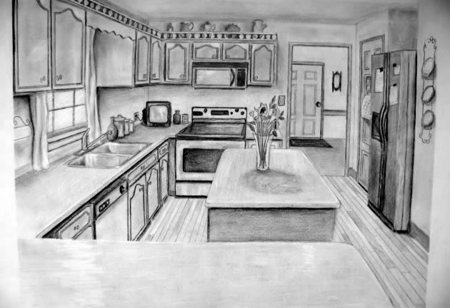 1 point perspective kitchen