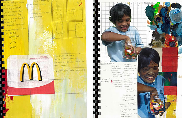 a level art media trials - sketchbook pages