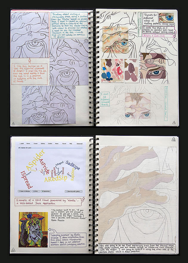 A Level Art sketchbook studies
