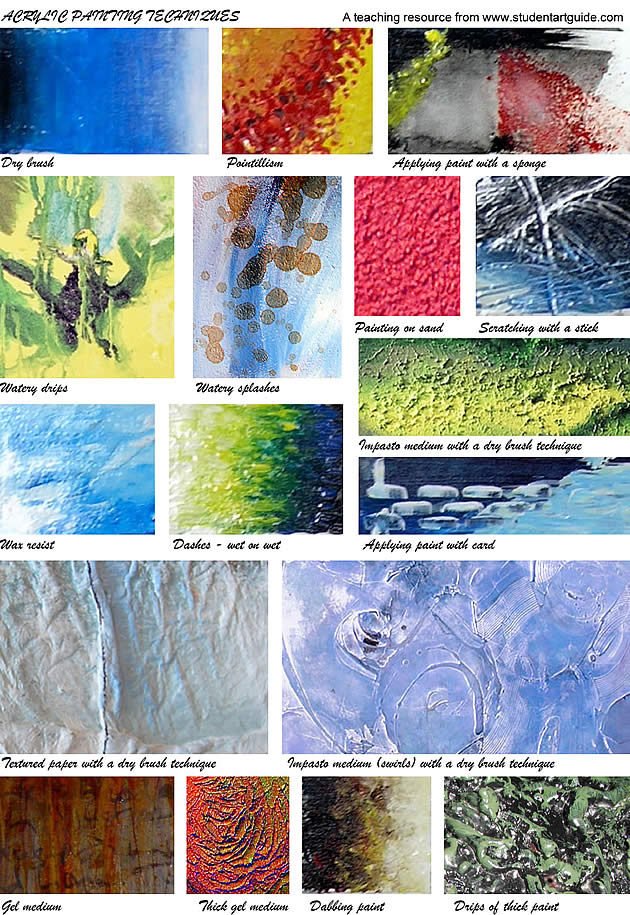 acrylic painting techniques - free handouts for art teachers