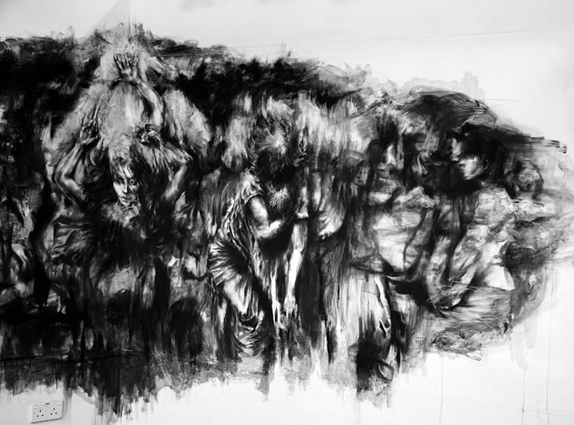 charcoal drawing of people