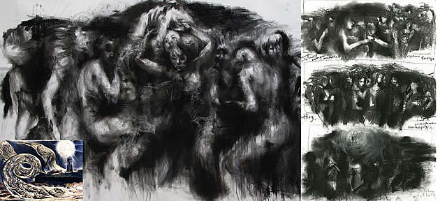 composition sketches for A Level Art