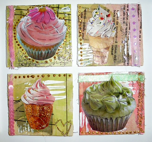 mixed media cupcake artwork