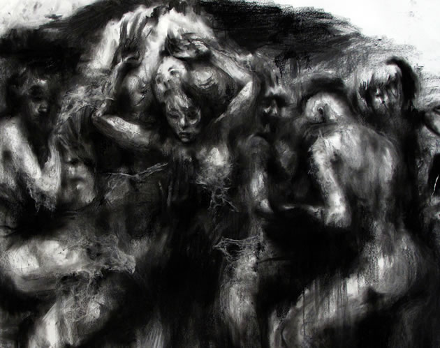 dark matter charcoal drawing